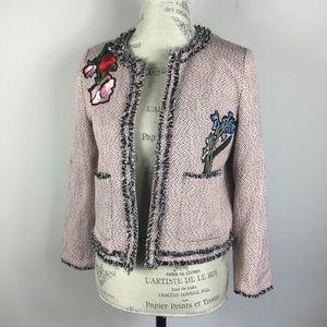 River Island pink tweed floral blazer
